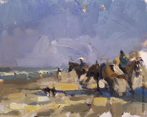 """Horses on a Saturday Morning"" original fine art by Roos Schuring"
