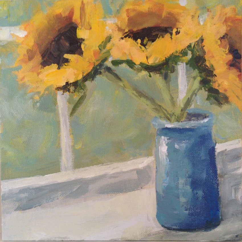 """Flowers in the Window"" original fine art by Shannon Bauer"