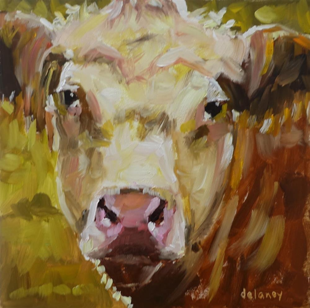 """Cow 157 LOOKING FOR LOVE"" original fine art by Jean Delaney"