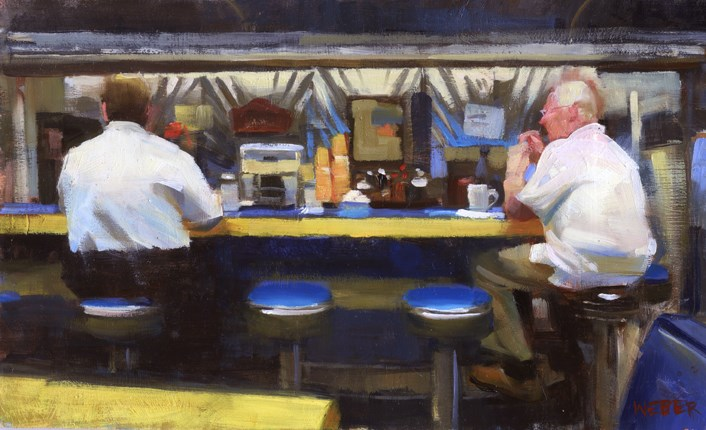 """Two men at the Seaplane Diner- sold"" original fine art by Kathy Weber"