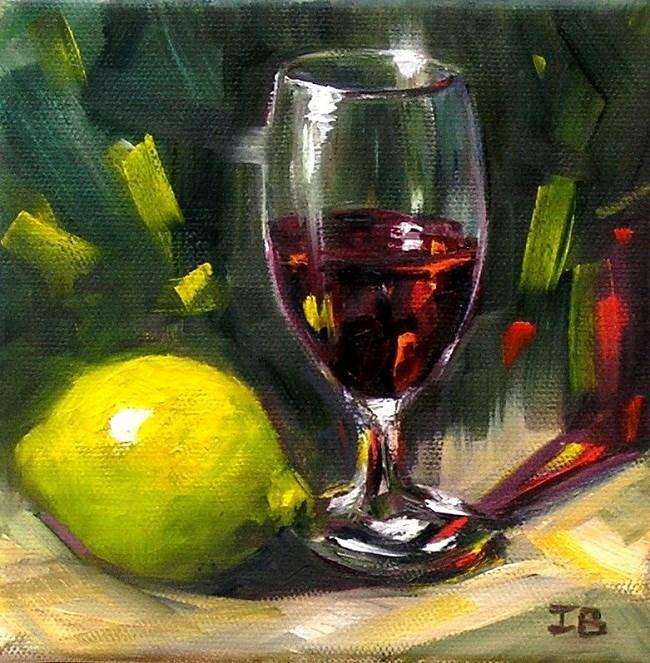 """Red Wine"" original fine art by Irina Beskina"