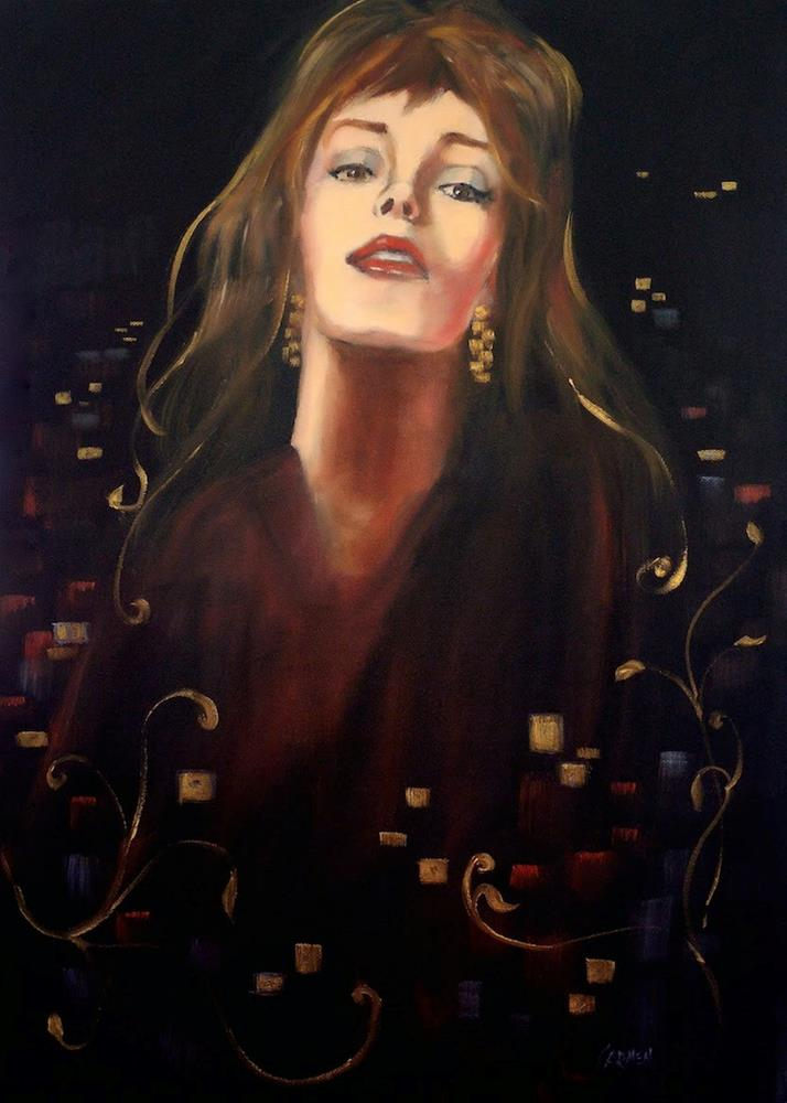 """Touch of Gold, 18x24 Oil on Canvas, Portrait of Woman with Gold and Black"" original fine art by Carmen Beecher"
