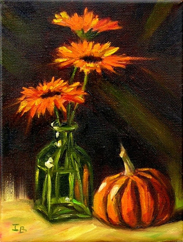 """Pot marigolds"" original fine art by Irina Beskina"