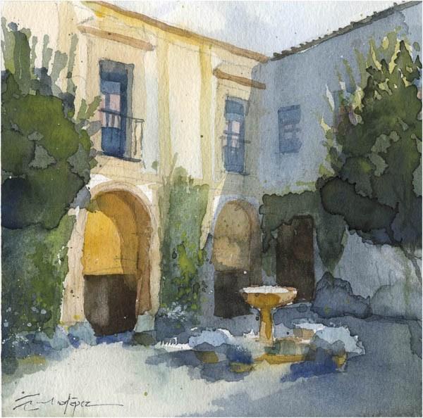 """patio 107"" original fine art by Emilio López"