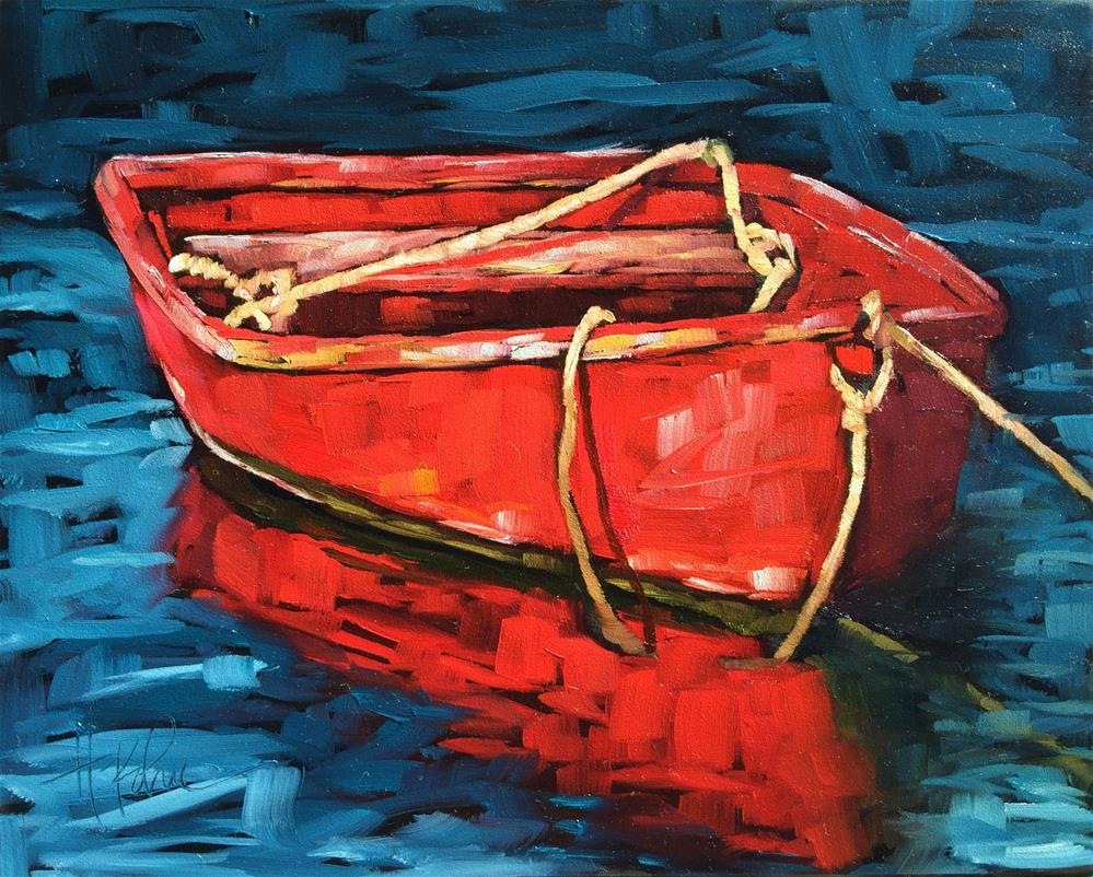 """Red Boat"" original fine art by Hallie Kohn"