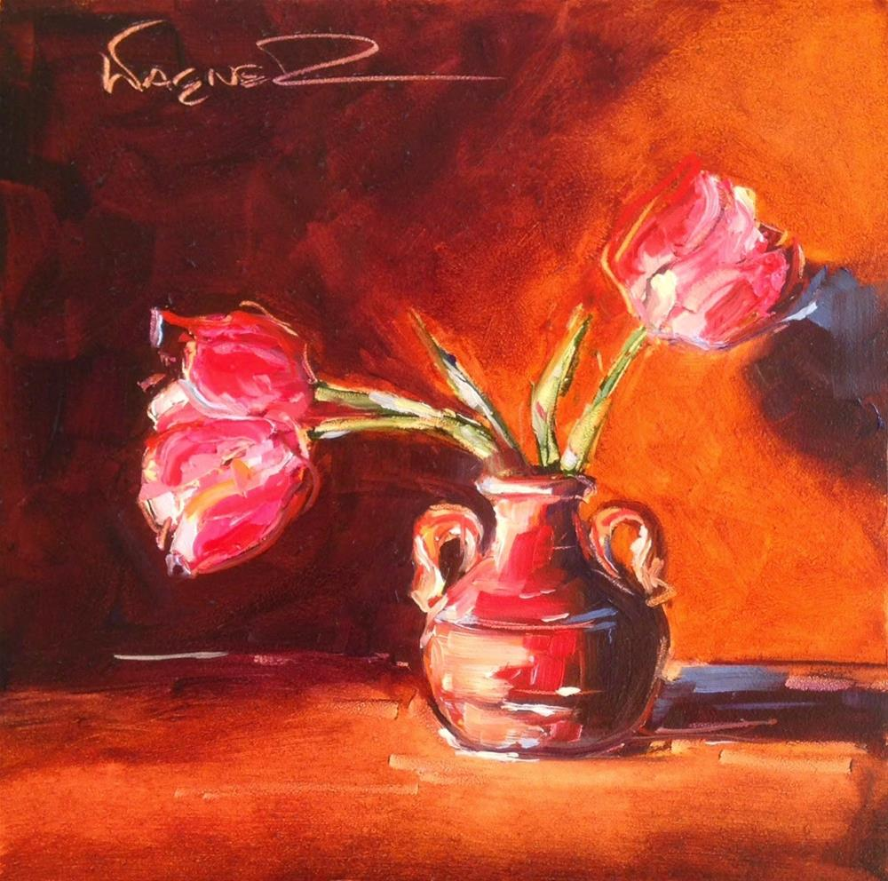 """ORIGINAL CONTEMPORARY TULIP FLORAL PAINTING by OLGA WAGNER"" original fine art by Olga Wagner"