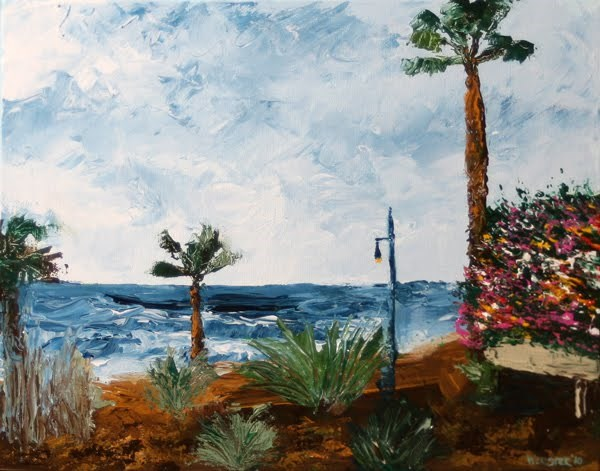 """Mark Webster - Canary Islands Palette Knife Acrylic Landscape Painting"" original fine art by Mark Webster"