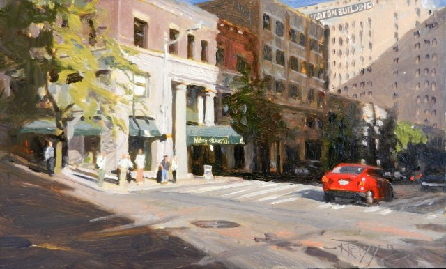 """""""The Metropolitan Grill  Seattle city, urban , oil painting by Robin Weiss"""" original fine art by Robin Weiss"""
