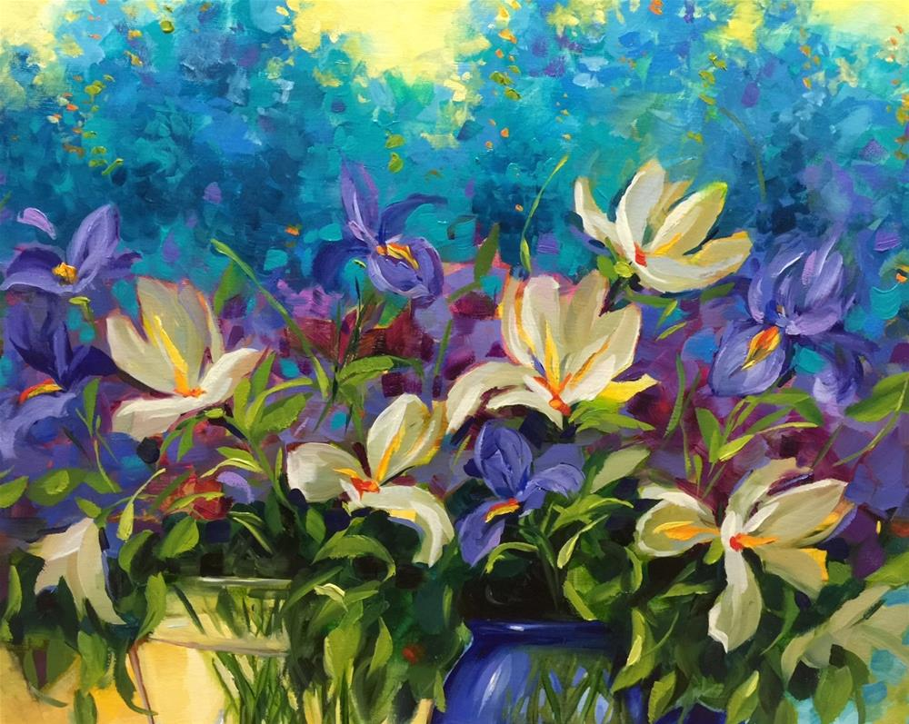 """Out of the Blue Delphiniums and Iris and a Special Visitor in the Studio - Flower Paintings by Nancy"" original fine art by Nancy Medina"