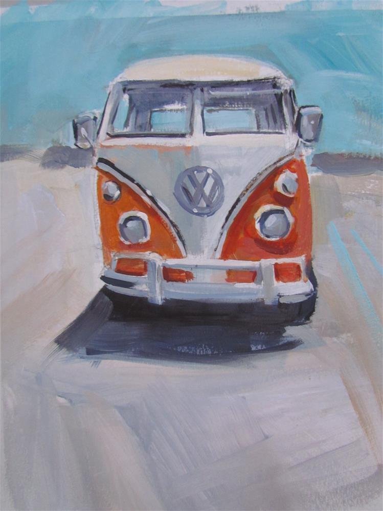 """vw orange"" original fine art by gilles Poulizac"