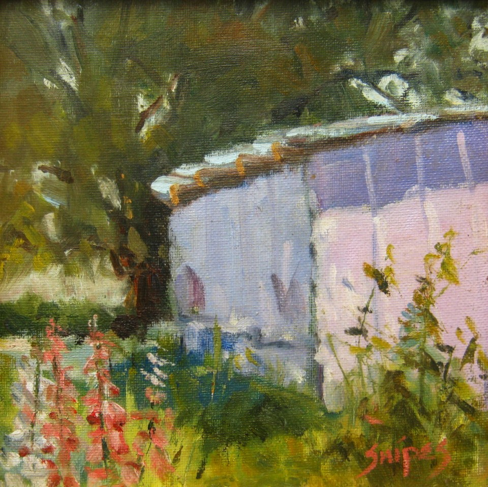 """The Lavender Shed"" original fine art by Connie Snipes"