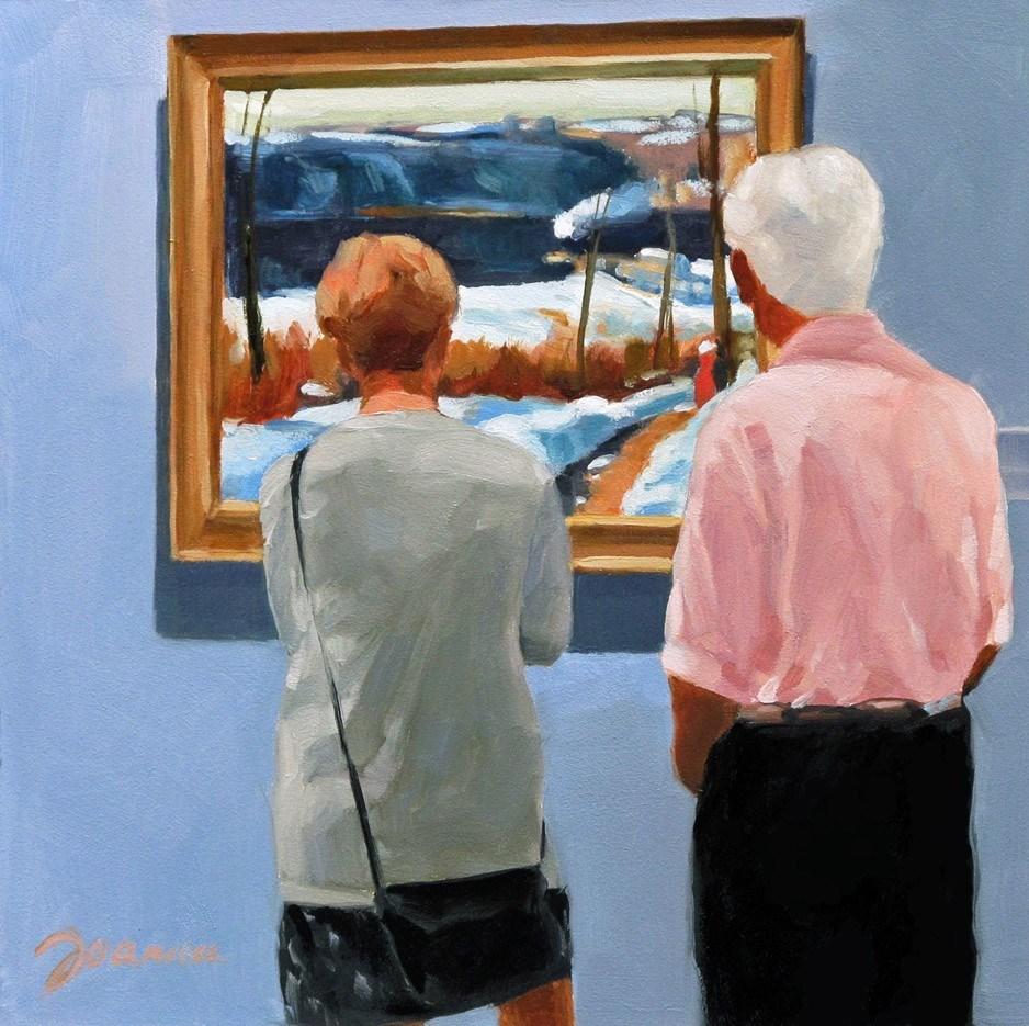 """Reviewing at Winter Afternoon-- Painting People in Museum/Gallery Series"" original fine art by Joanna Bingham"