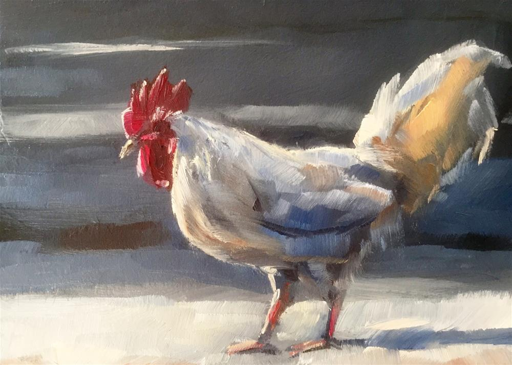"""""""Rooster Crossing"""" original fine art by Gary Bruton"""
