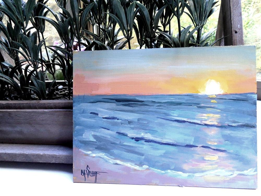 """Daily Painting, Small Acrylic Seascape, 6x8 Acrylic"" original fine art by Carol Schiff"