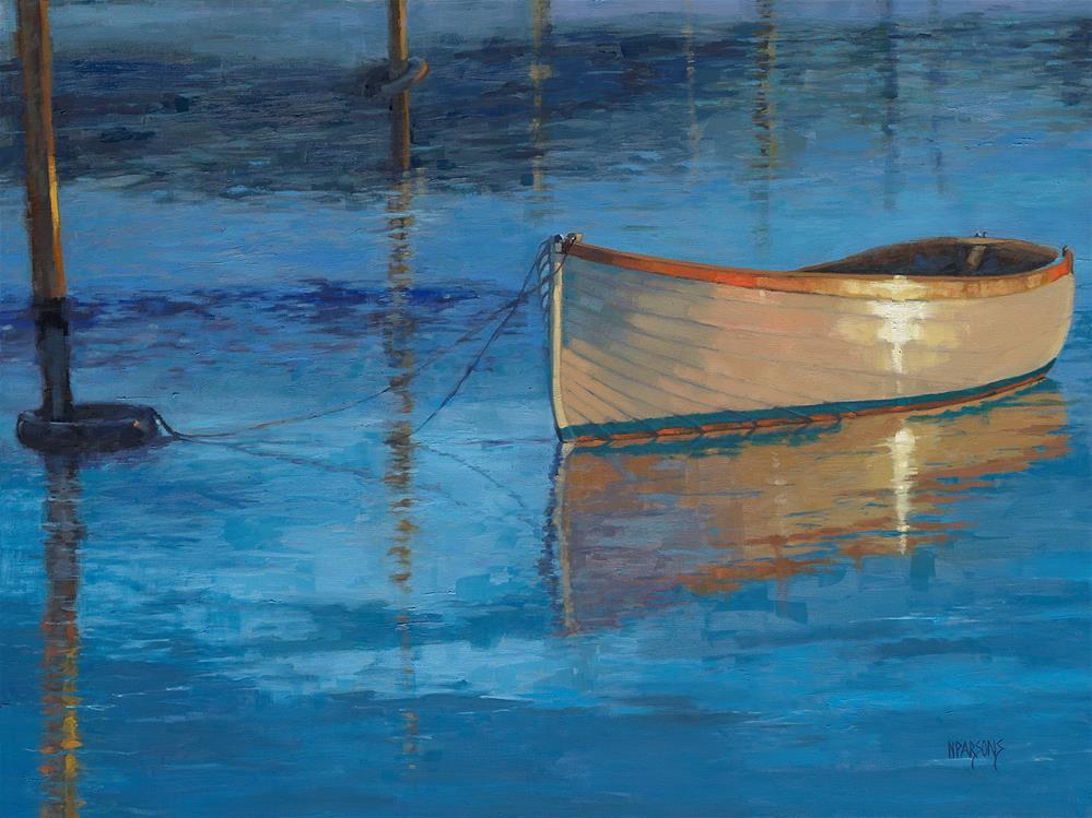 """""""Mooring in Light"""" original fine art by Nancy Parsons"""