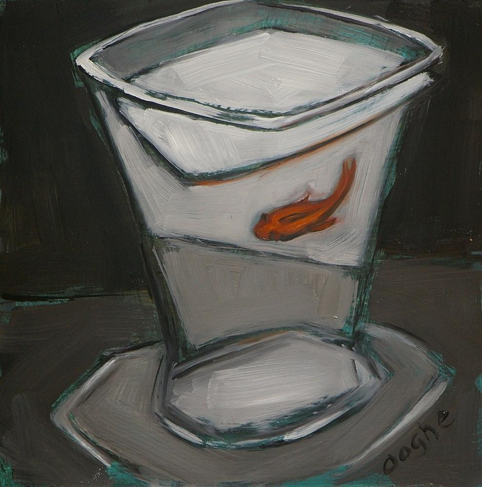 """Black and White Still Life with Goldfish"" original fine art by Angela Ooghe"