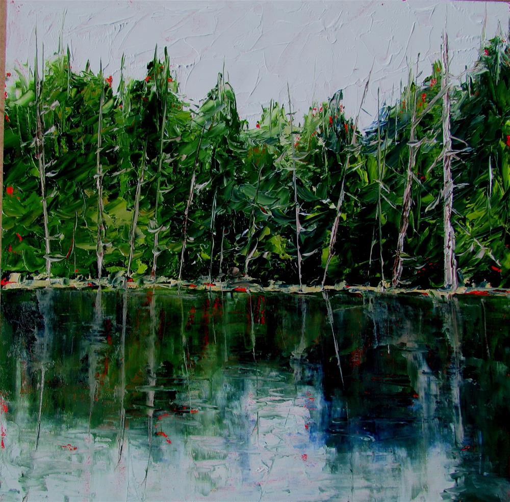 """8 x 8 inch oil Westwood Lake #2"" original fine art by Linda Yurgensen"