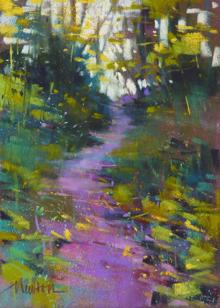 """Dog Walk - wooded trail"" original fine art by Barbara Benedetti Newton"