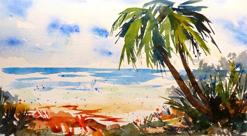 """Beach At Isabela, P.R."" original fine art by Judith Freeman Clark"