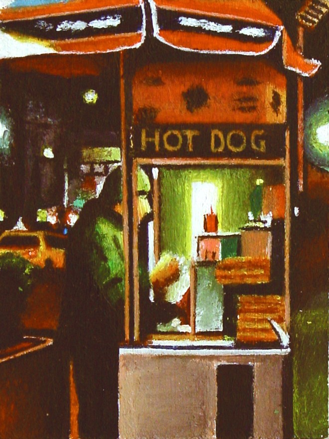 """Hot Dog- Urban City Street Scene Painting Of Hot Dog Stand New York"" original fine art by Gerard Boersma"