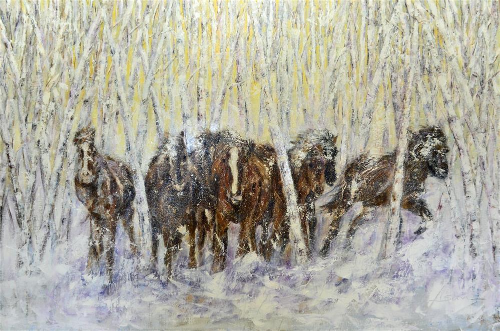 """Wild horses in snow"" original fine art by Sun Sohovich"