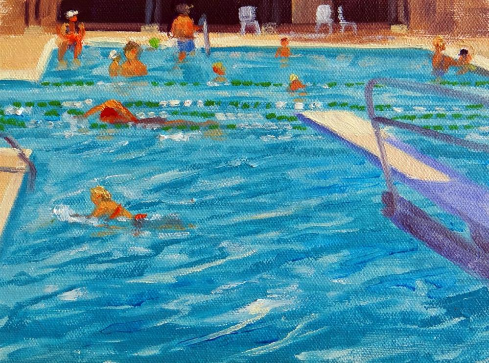 """Dads at the Pool"" original fine art by Nancy Paris Pruden"