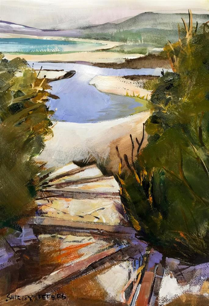 """Lagoon Stairs"" original fine art by Shirley Peters"