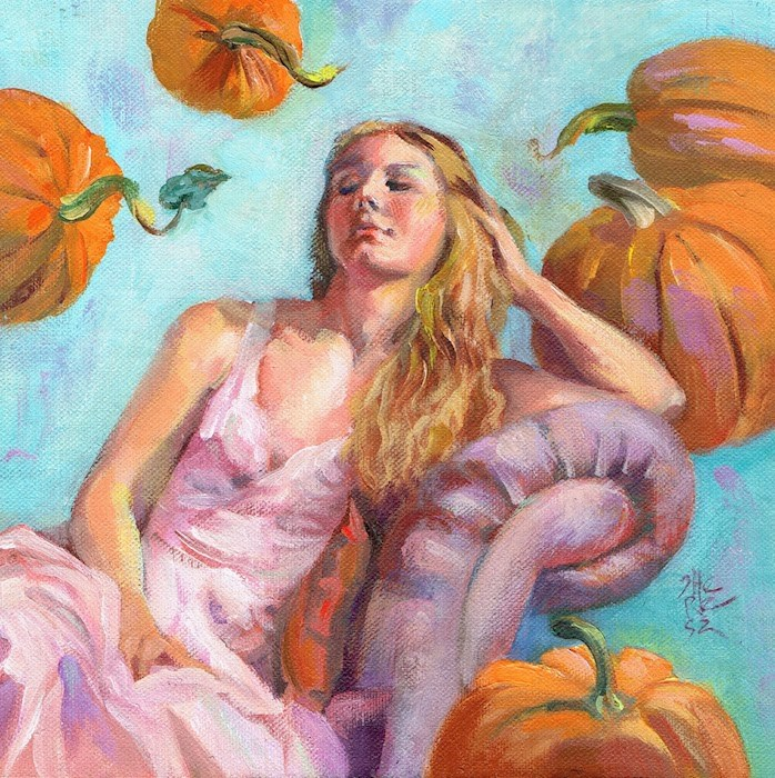 """Pumpkin Princess"" original fine art by Theresa Taylor Bayer"