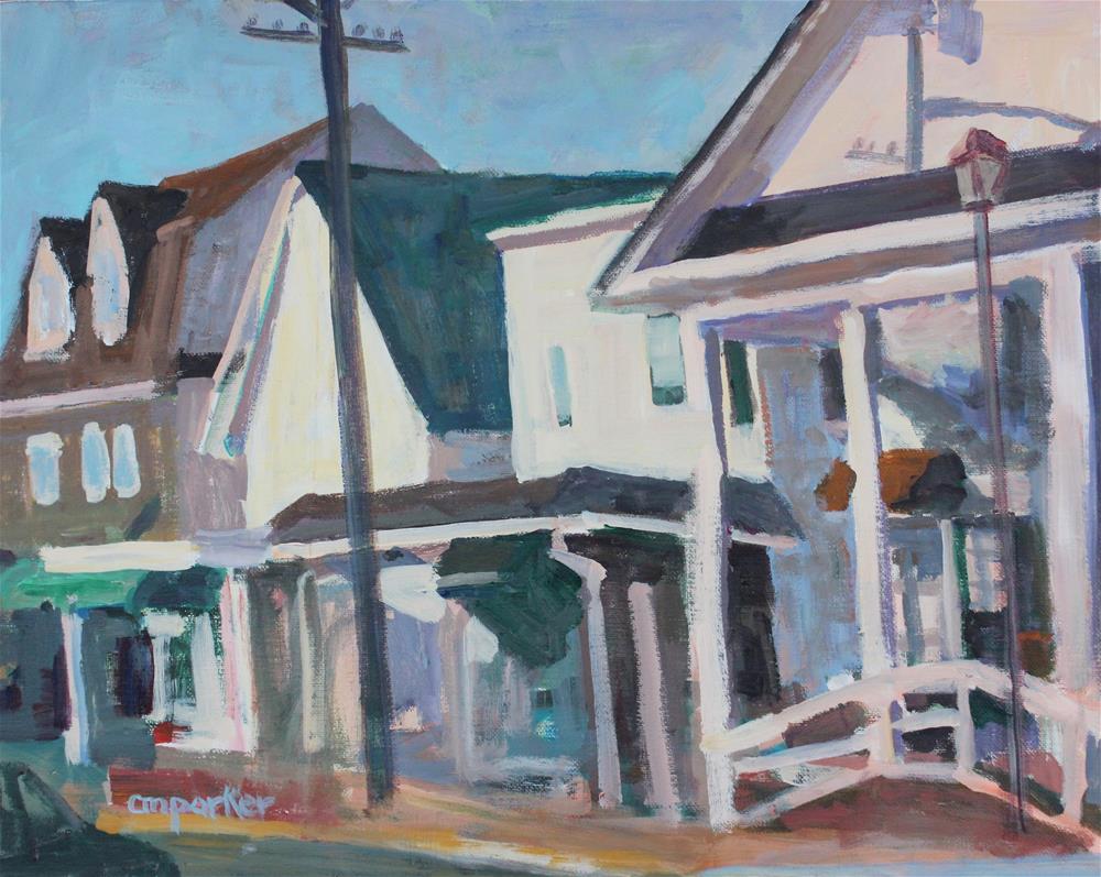 """Shopper's Wharf, Bay Head"" original fine art by Christine Parker"