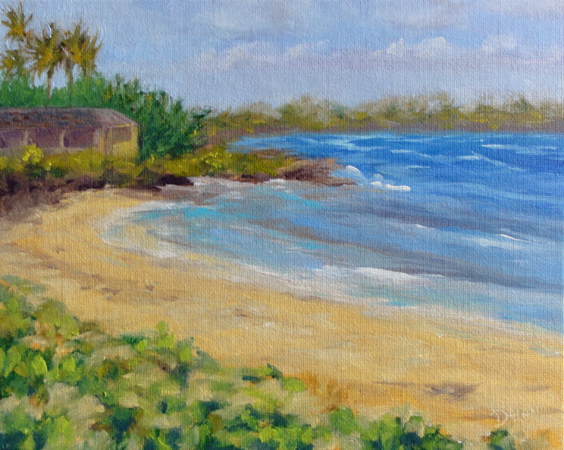 """Kailua Beach painting for charity auction"" original fine art by Dalan Wells"