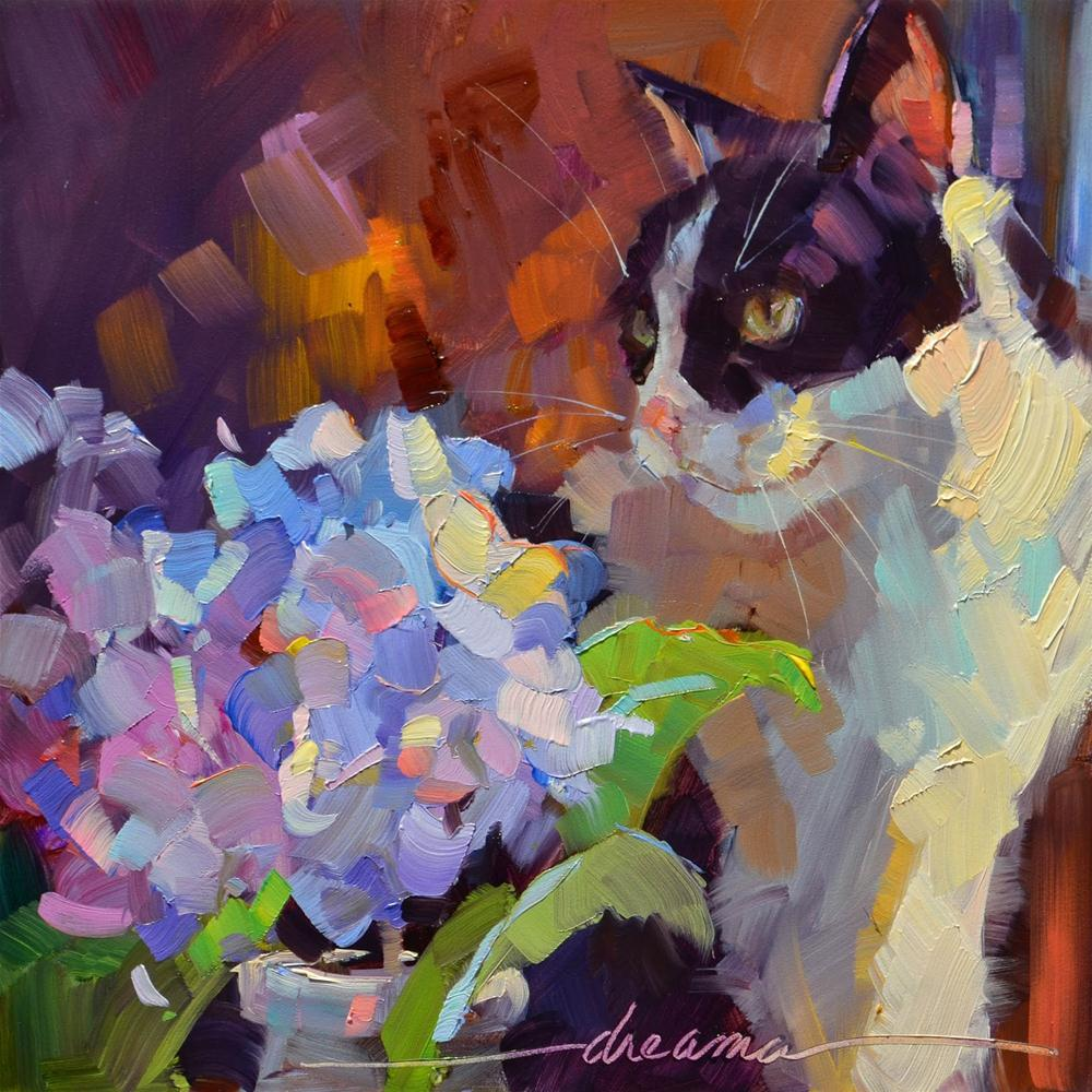 """Purrfection  SOLD"" original fine art by Dreama Tolle Perry"