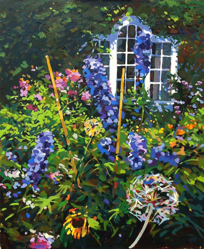 """Rectory with delphiniums"" original fine art by Haidee-Jo Summers ROI"
