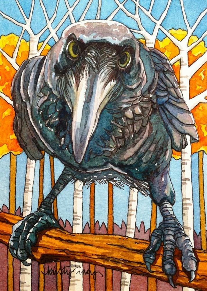 """FALL RAVEN"" original fine art by Kristy Tracy"