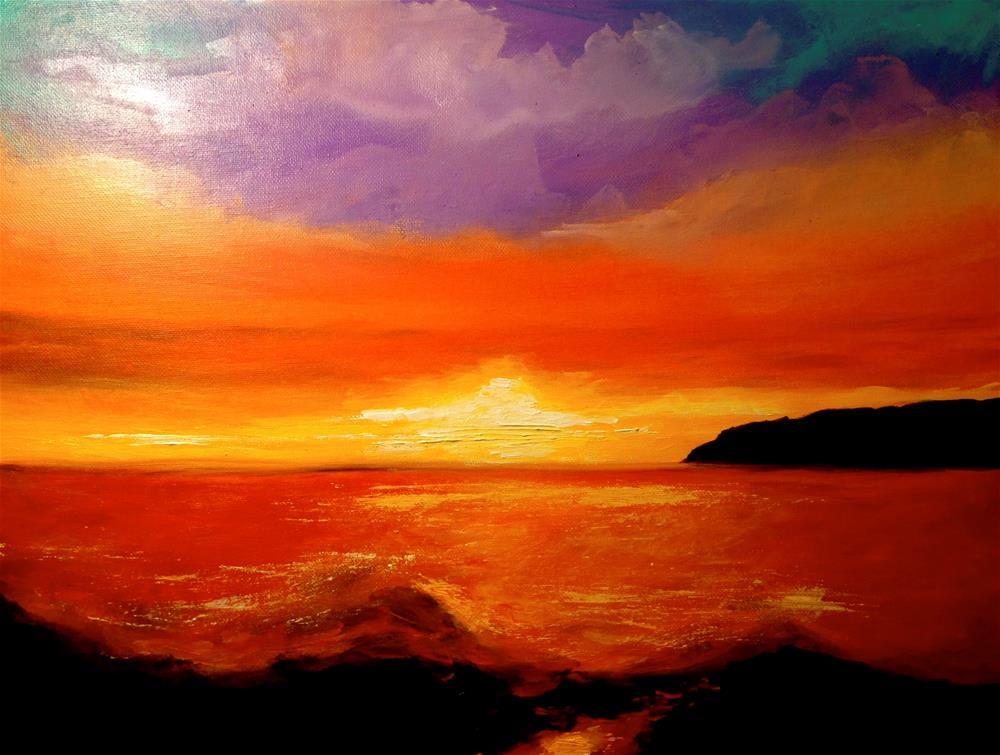 """Ocean sunset"" original fine art by Barbara Beckmann"