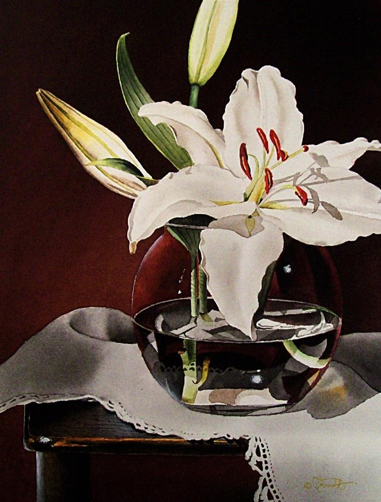 """Still Life with White Mountain Lily"" original fine art by Jacqueline Gnott, whs"