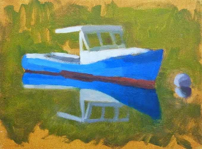 """Blue Boat Study"" original fine art by Bobbi Heath"