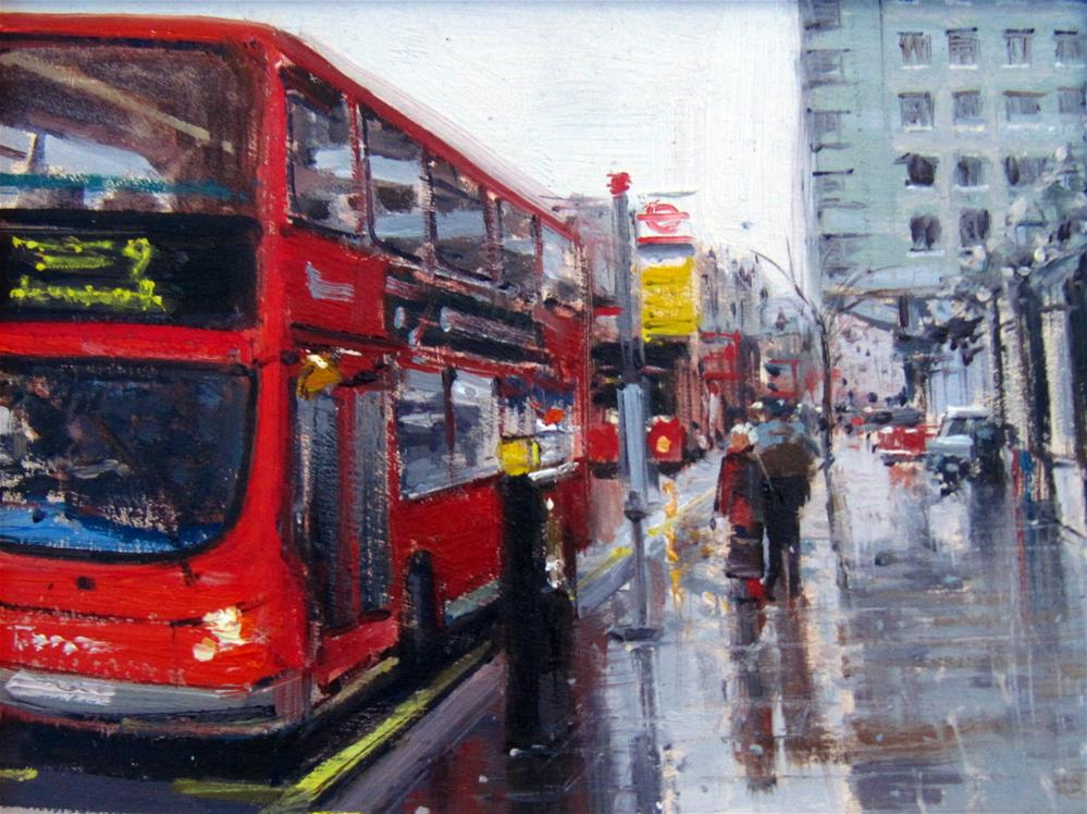 """The Rainy Day Charing Cross, London"" original fine art by Adebanji Alade"