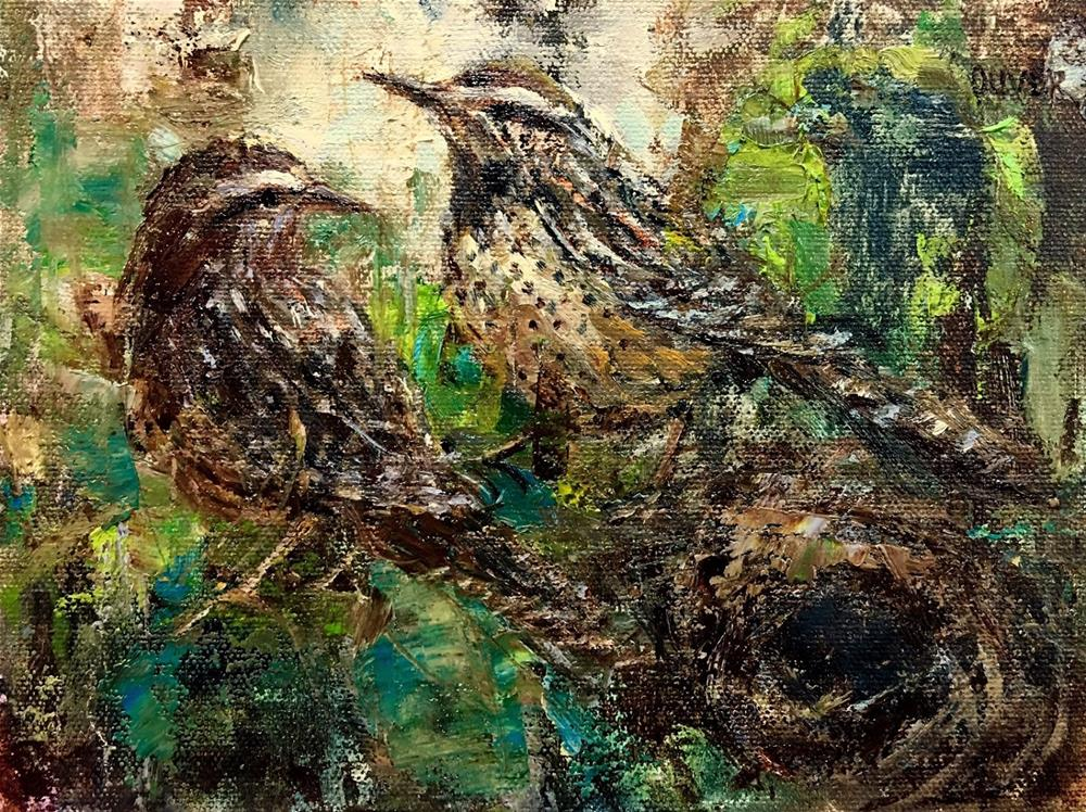"""Cactus Wrens"" original fine art by Julie Ford Oliver"