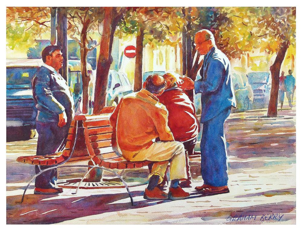 """Men's talk."" original fine art by Graham Berry"