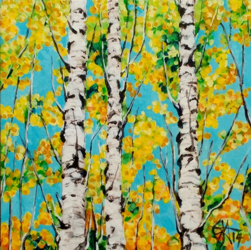 """Autumn Gold Aspen Trees Leaves Fall Colorful Quaking Quakies Beautiful Yellow"" original fine art by Jackie Carpenter"