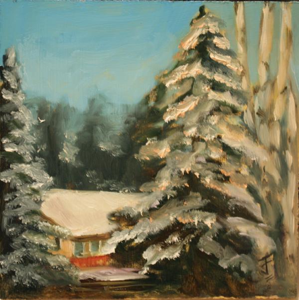 """Snowy View"" original fine art by Jane Frederick"