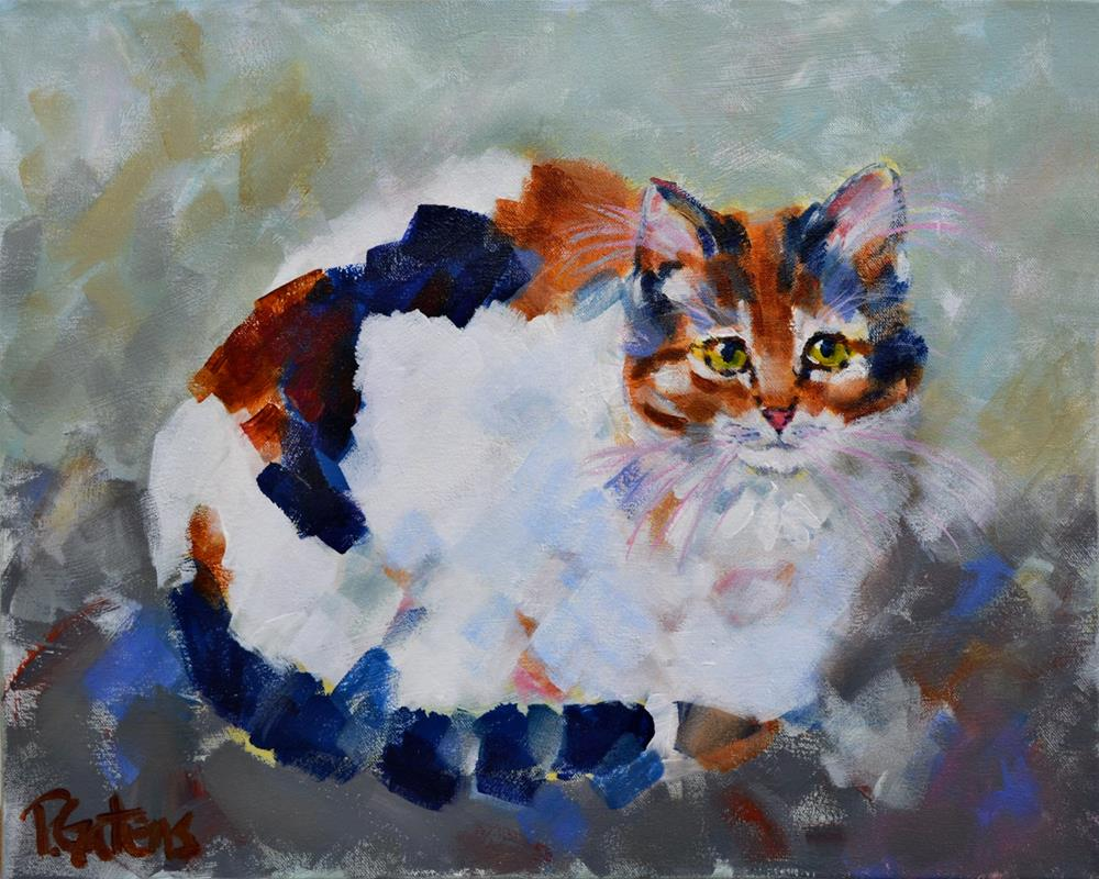 """Patio Calico"" original fine art by Pamela Gatens"