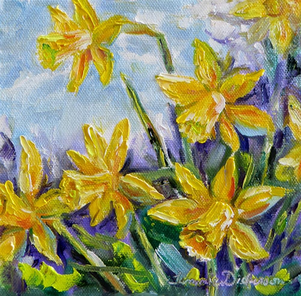 """Palette Knife Daffodils"" original fine art by Tammie Dickerson"