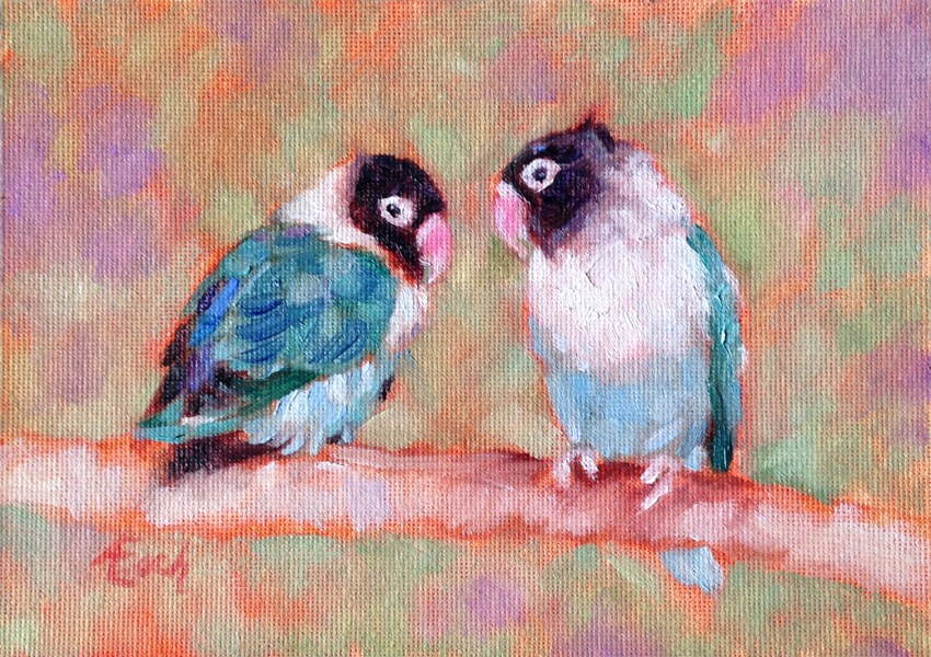 """Two Lovebirds"" original fine art by Audra Esch"