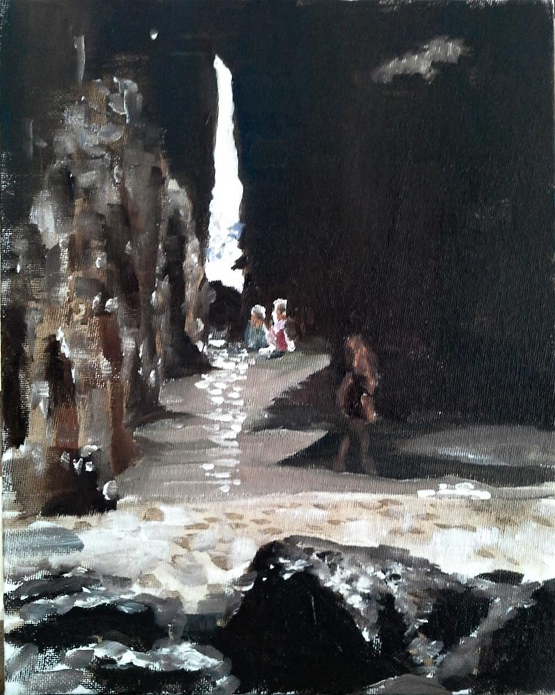 """Bathers at Nanjizel, Cornwall"" original fine art by James Coates"