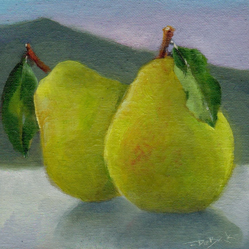 """pears"" original fine art by Leo DeBak"