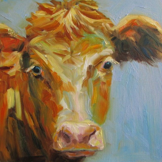 """Orange and Blue - Moo"" original fine art by Mb Warner"