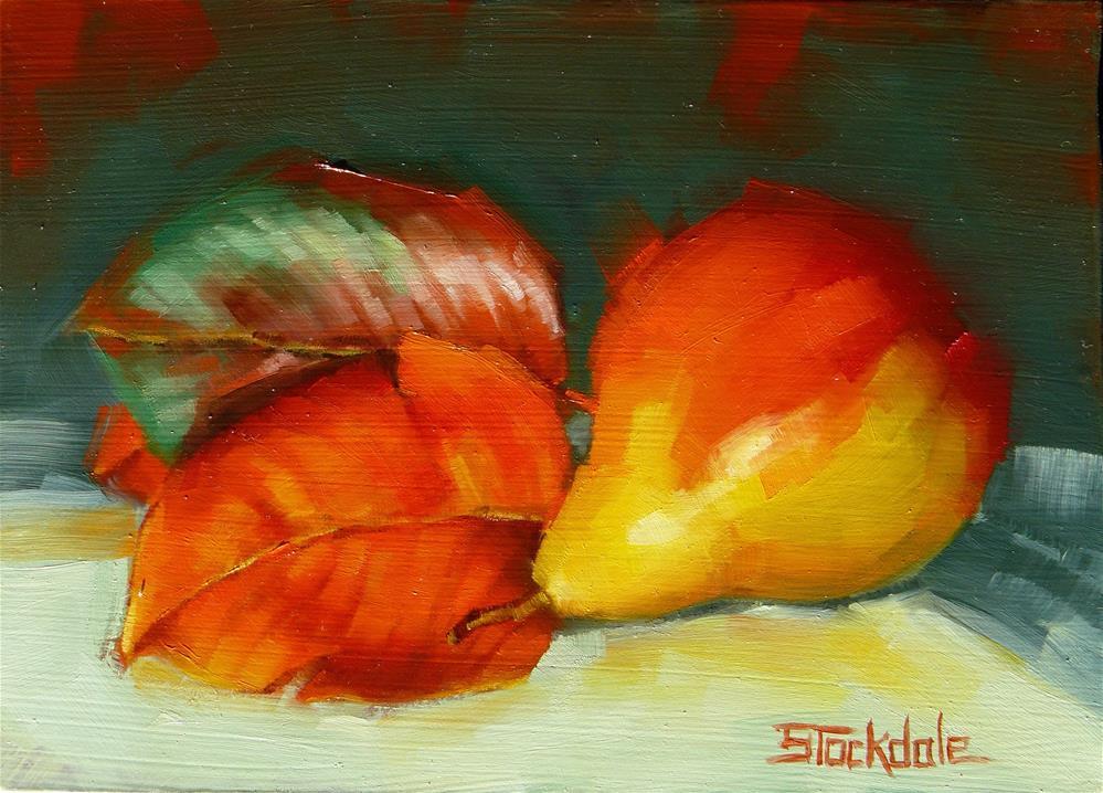 """Autumn Corella Pear"" original fine art by Margaret Stockdale"