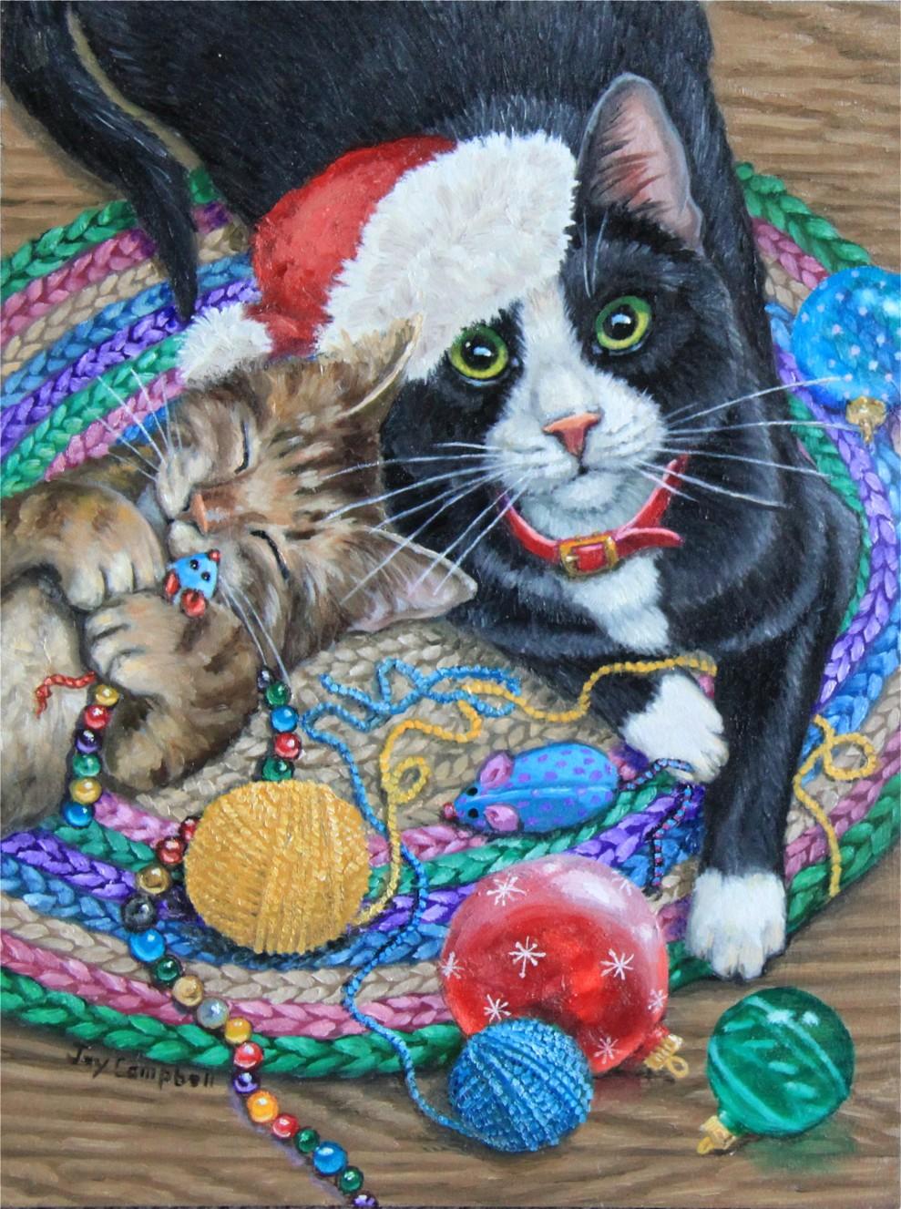 """Christmas Kitties"" original fine art by Joy Campbell"