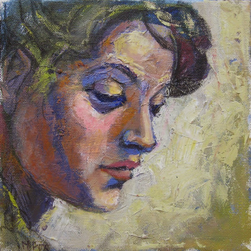 """Looking Down, figurative study, figuration, contemporary figure painter, portrait, face, Michelangel"" original fine art by Marie Fox"